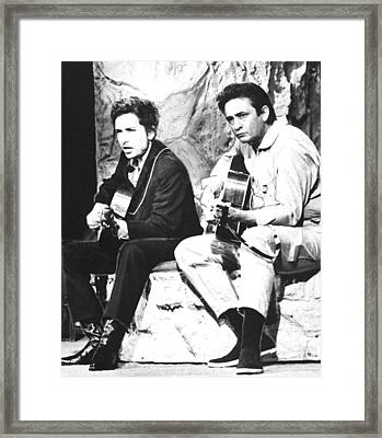 Johnny Cash, With Bob Dylan, C. 1969 Framed Print by Everett