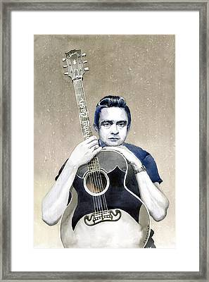 Johnny Cash Framed Print by Yuriy  Shevchuk