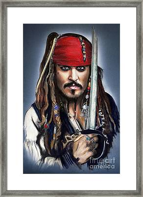 Johnny Depp As Jack Sparrow Framed Print by Melanie D