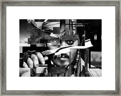 Johnny Depp - Collage Art Abstract - Black And White Framed Print by Prar Kulasekara