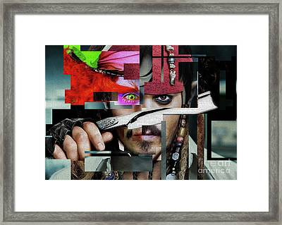 Johnny Depp - Collage Art Matt Framed Print