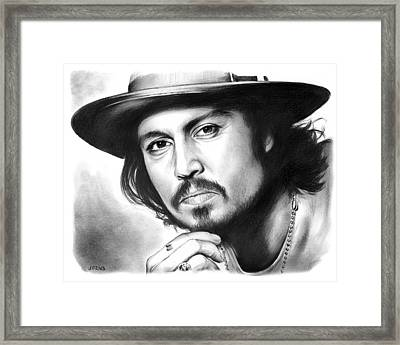 Johnny Depp Framed Print by Greg Joens