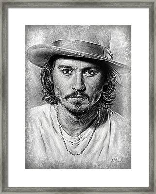 Johnny Depp Grey Scratch Framed Print by Andrew Read