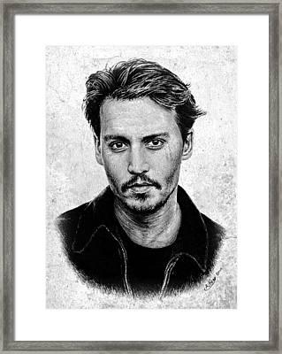 Johnny Depp Grey Specked Ver Framed Print