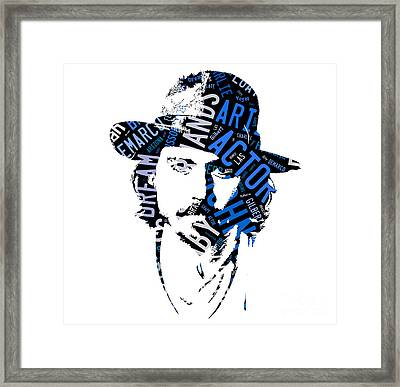 Johnny Depp Movie Titles Framed Print by Marvin Blaine