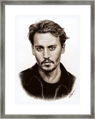Johnny Depp Sepia Framed Print by Andrew Read