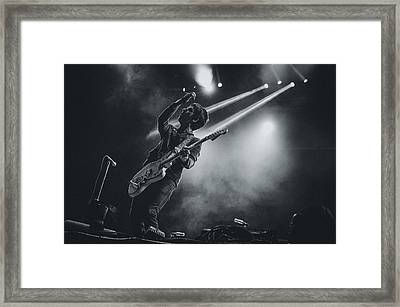 Johnny Marr Playing Live Framed Print by Marco Oliveira
