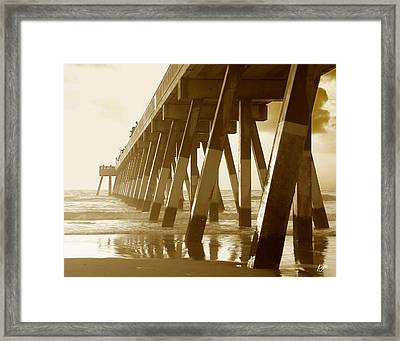 Framed Print featuring the photograph Johnny Mercer Pier At Sunrise by Phil Mancuso