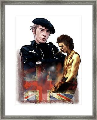 Framed Print featuring the painting Johnny Rotten And Sid Vicious Revolution In The Head  by Iconic Images Art Gallery David Pucciarelli