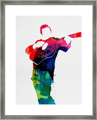 Johnny Watercolor Framed Print by Naxart Studio