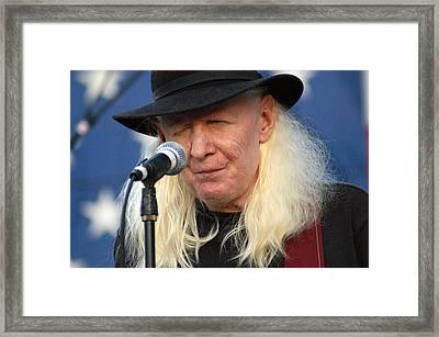 Johnny Winter Framed Print by Mike Martin