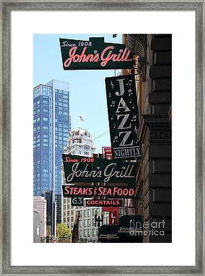 Johns Grill . Maltese Falcon . Humphrey Bogart Framed Print by Wingsdomain Art and Photography