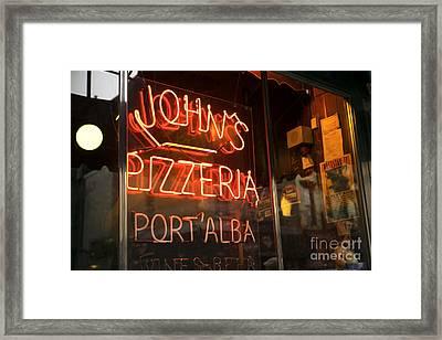 John's Pizzeria Framed Print by John Rizzuto