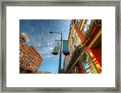 Johnson Street In Victoria B.c. Framed Print by David Gn