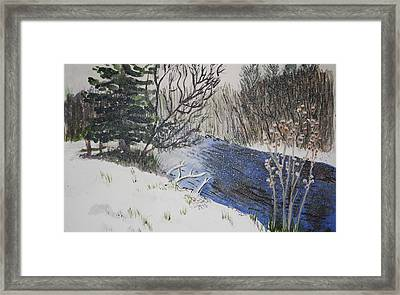 Framed Print featuring the painting Johnson Vermont In Spring Snow Storm by Donna Walsh