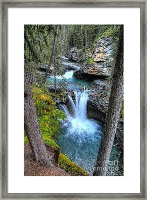 Johnston Canyon Falls Hike Lower Falls II Framed Print by Wayne Moran