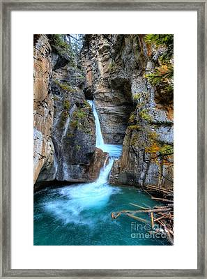 Johnston Canyon Falls Hike Upper Falls II Framed Print by Wayne Moran