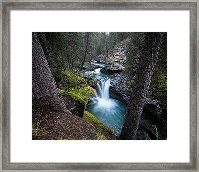 Johnston Canyon Waterfall Framed Print