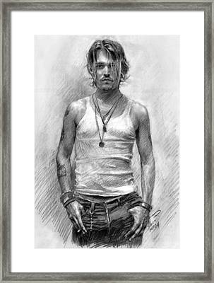 Johny Depp Framed Print by Ylli Haruni