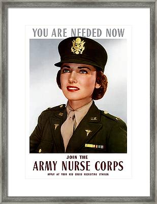 Join The Army Nurse Corps Framed Print by War Is Hell Store