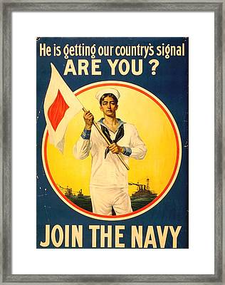 Join The Navy Framed Print by Otis Porritt