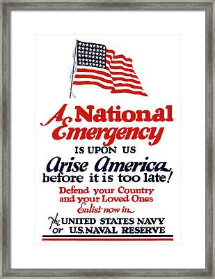 Arise America Before It Is Too Late - Join The Navy Framed Print by War Is Hell Store