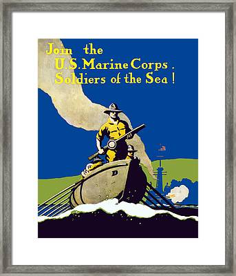 Join The Us Marines Corps Framed Print by War Is Hell Store