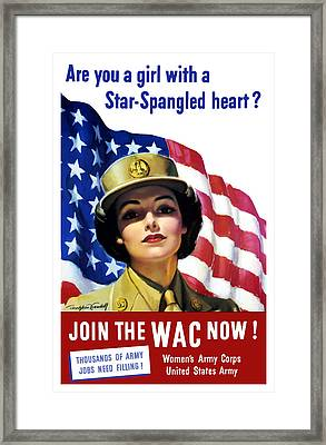 Join The Wac Now - World War Two Framed Print by War Is Hell Store