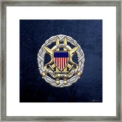 Joint Chiefs Of Staff - J C S Identification Badge On Blue Velvet Framed Print by Serge Averbukh