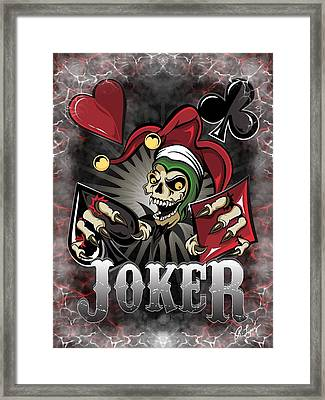 Joker Poker Skull Framed Print