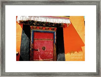 Jokhang Temple Door Lhasa  Tibet Artmif.lv Framed Print by Raimond Klavins