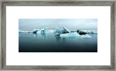 Framed Print featuring the photograph Jokulsarlon Glacier Lagoon Panorama by Brad Scott