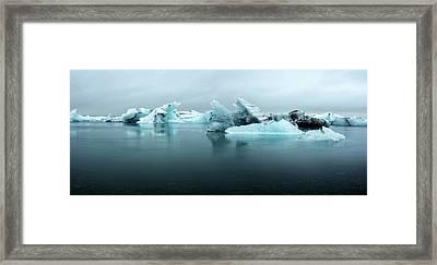 Framed Print featuring the photograph Jokulsarlon Glacier Lagoon Panorama by Brad Scott
