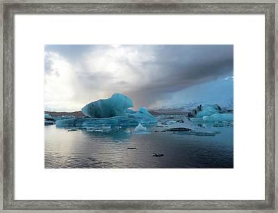 Framed Print featuring the photograph Jokulsarlon, The Glacier Lagoon, Iceland 4 by Dubi Roman