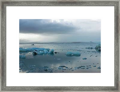 Framed Print featuring the photograph Jokulsarlon, The Glacier Lagoon, Iceland 1 by Dubi Roman