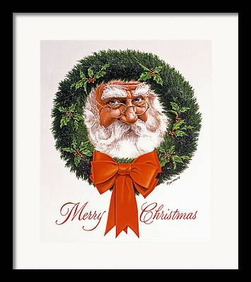 Santa Claus Paintings Framed Prints