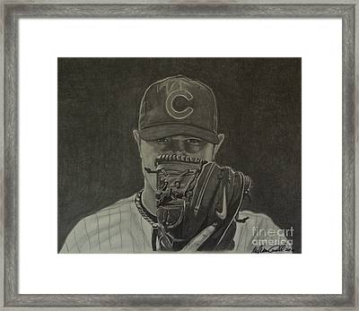 Jon Lester Portrait Framed Print by Melissa Goodrich
