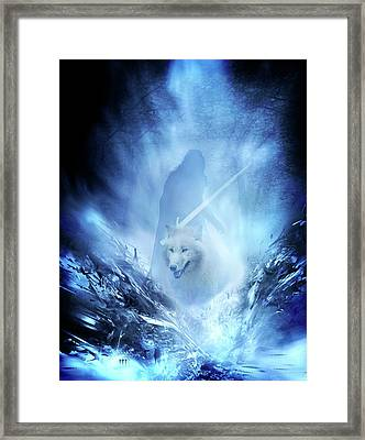 Jon Snow And Ghost - Game Of Thrones Framed Print