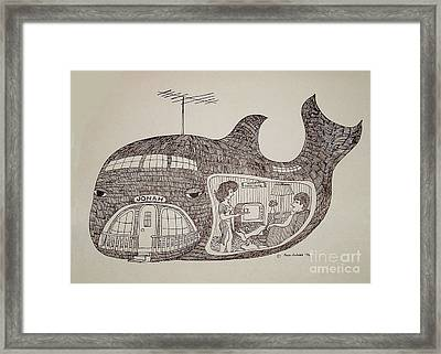 Jonah In His Whale Home. Framed Print
