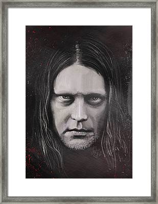 Framed Print featuring the drawing Jonas P Renkse Musician From Katatonia Band By Julia Art by Julia Art