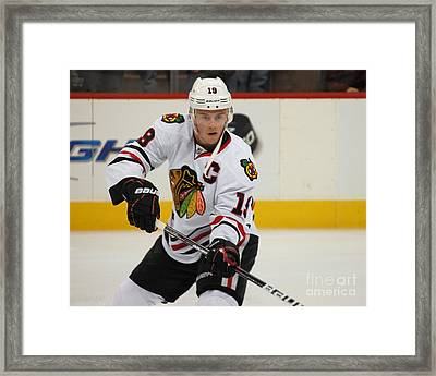 Jonathan Toews - Action Shot Framed Print by Melissa Goodrich
