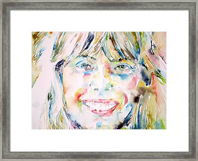 Joni Mitchell - Watercolor Portrait Framed Print