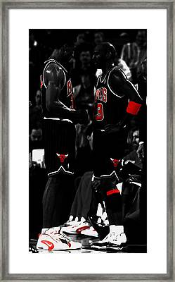 Jordan And Pippen Framed Print