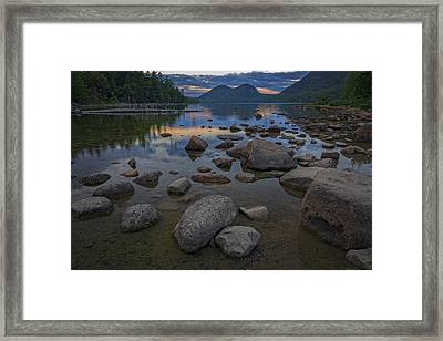 Jordan Pond Afterglow Framed Print by Rick Berk