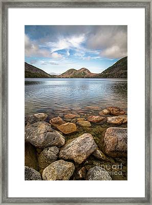 Jordan Pond And The Bubbles Framed Print by Benjamin Williamson
