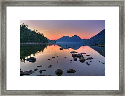Jordan Pond At Sunset Framed Print by Expressive Landscapes Fine Art Photography by Thom