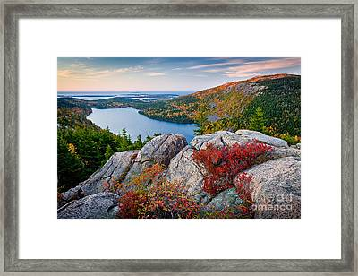 Jordan Pond Sunrise  Framed Print by Susan Cole Kelly