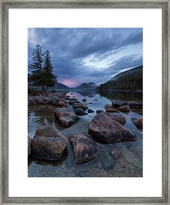Framed Print featuring the photograph Jordan Pond Sunset  by Patrick Downey