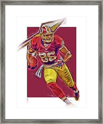 Jordan Reed Washington Redskins Oil Art Framed Print by Joe Hamilton