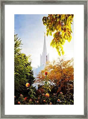Jordan River Temple Rose Framed Print by La Rae  Roberts